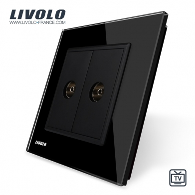 TWO GANG TV SOCKET Black