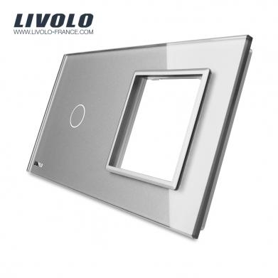 Plaque 1 bouton et 1 prise - Livolo