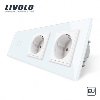 Triple combinaison : 1 interrupteur tactile 1 bouton et 2 prises de courant avec terre - Europe