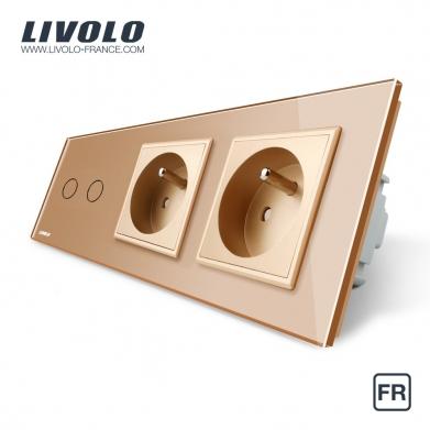 Tactile 2 boutons / 2x1 voie + 2 Prises FR