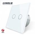 ZigBee Tactile 2 boutons / 2x1 voie - Interrupteur Wifi blanc