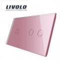 Plaque 3 boutons 1+2 - Livolo