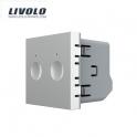Mécanisme double interrupteur tactile 2 boutons / 2x1 voie gris